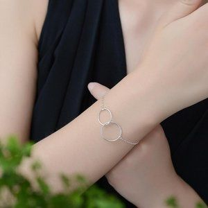 NEW 925 Sterling Silver Double Circle Bracelet